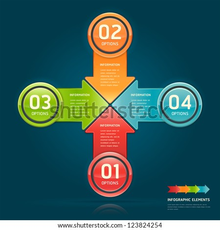 Colorful arrow circle number options banner. Vector illustration. can be used for workflow layout, diagram, web design, infographics.
