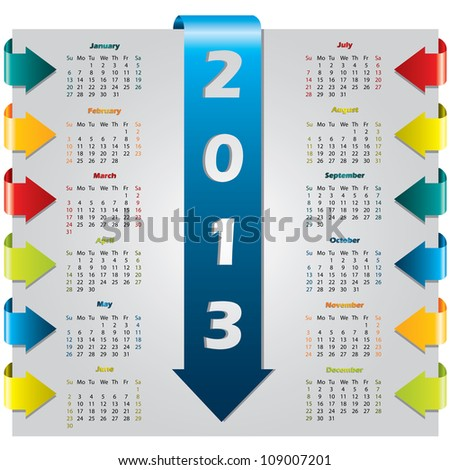 Colorful arrow design calendar for year 2013 - stock vector