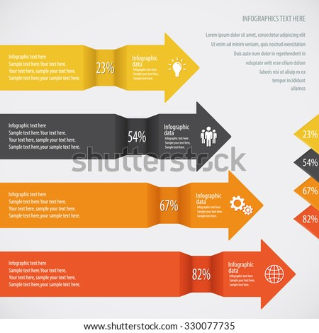 Colorful Arrow Infographic Background - Icons and arrows for 4 options. EPS10 vector. - stock vector