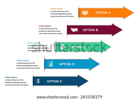 Colorful arrow number options banner. Vector illustration.