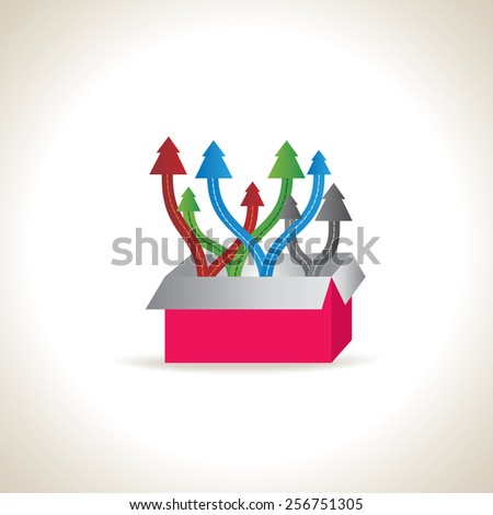 colorful arrow out of box team work concept idea - stock vector