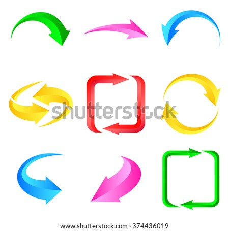Colorful arrows. Illustration for design on white background. Vector illustration - stock vector