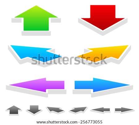 Colorful Arrows in Different Directions: 3D Up, Down, Left, Right and Diagonal Arrows - stock vector