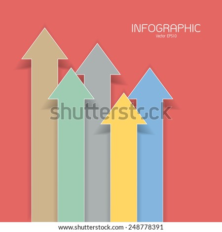 colorful arrows on the red background. Vector Eps10 file. - stock vector
