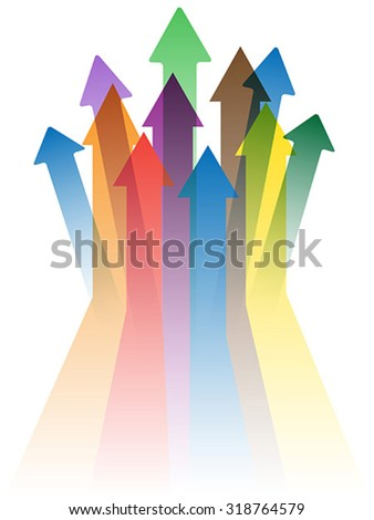 colorful arrows to success - stock vector