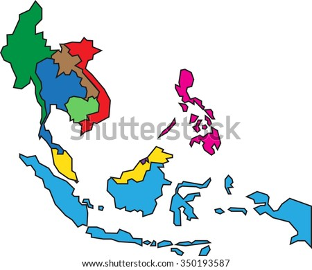 Colorful Asean Map White Background Stock Vector Royalty Free Gambar