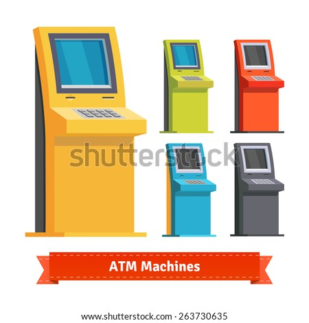 Colorful ATM Machines, terminals or info kiosks. Flat style icons. - stock vector