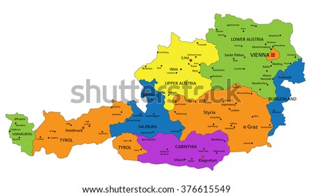 Colorful Austria political map with clearly labeled, separated layers. Vector illustration. - stock vector