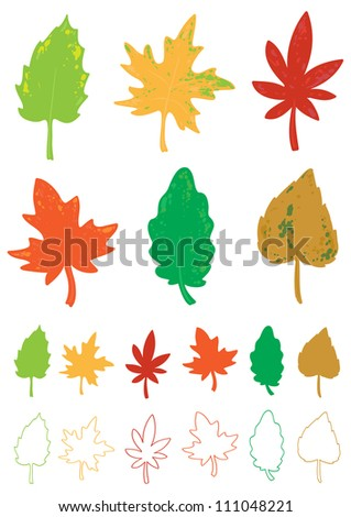 colorful autumn leaves in the set - stock vector
