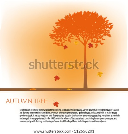 Colorful autumn tree with space for your text made of colorful dots in bright autumn colors. Use of global color swatches. - stock vector