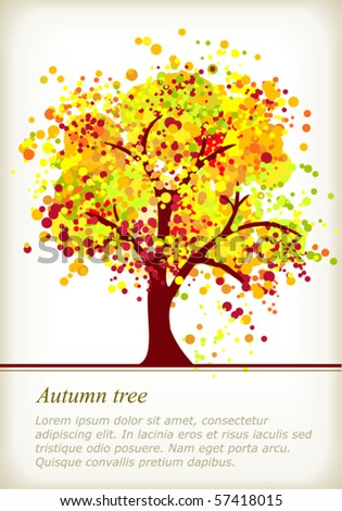 Colorful autumn tree with space for your text made of colorful dots in bright autumn colors. Use of global color swatches, blends and clipping mask, no gradients. - stock vector