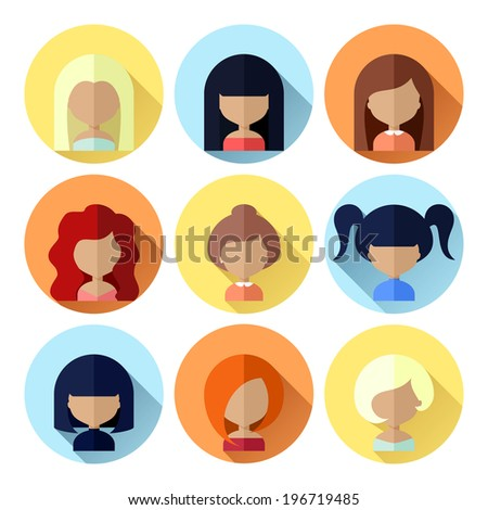 Colorful Avatars Female Circle Icons Set in Flat Style with Long Shadow - stock vector