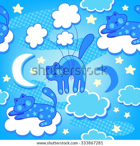 Colorful baby seamless pattern with cats, clouds and stars. Vector background - stock vector