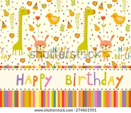 Colorful Baby shower background with cat, chicken and giraffe. Happy birthday card. - stock vector