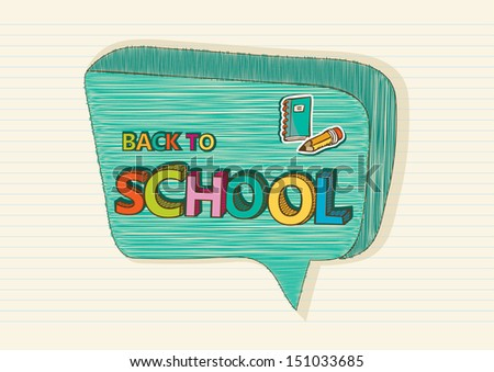Colorful back to school text, social media speech bubble education icons inside, cartoon illustration. Vector file layered for easy editing. - stock vector