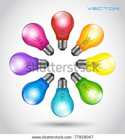 Colorful background creative idea light bulbs - stock vector