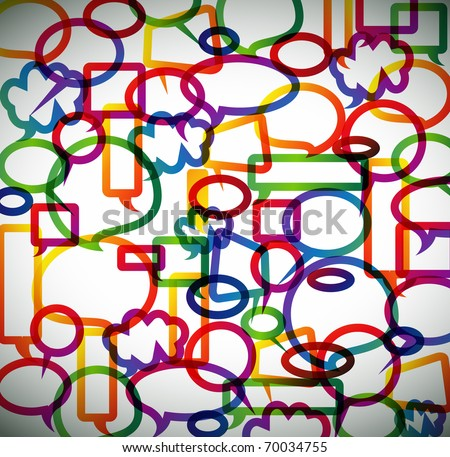 Colorful background made from speech bubbles with colored borders - stock vector