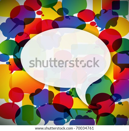 Colorful background made from speech bubbles with one big in the front - stock vector