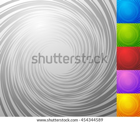 Colorful background set with spiral - vortex element. Set of 5 colors plus grayscale version - stock vector