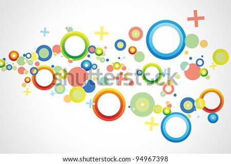 Colorful background vector with predominant shapes like circles, crosses and rings.