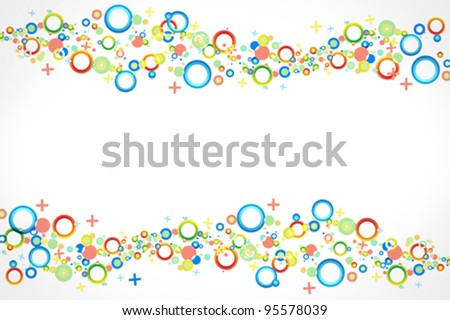 Colorful background vector with predominant shapes like circles, crosses and rings in two lines in top and bottom of the frame. - stock vector