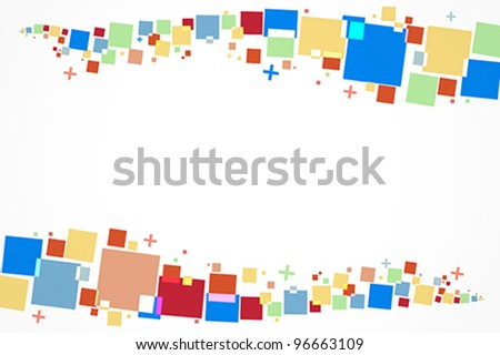 Colorful background vector with predominant shapes like squares and crosses in two lines in top and bottom of the frame. - stock vector