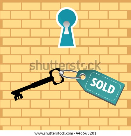 Colorful background with a keyhole and a key with the text sold. Real estate sales concept - stock vector