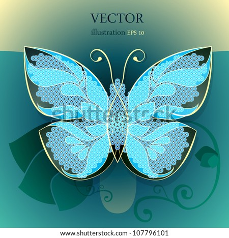 Colorful background with abstract butterfly. - stock vector