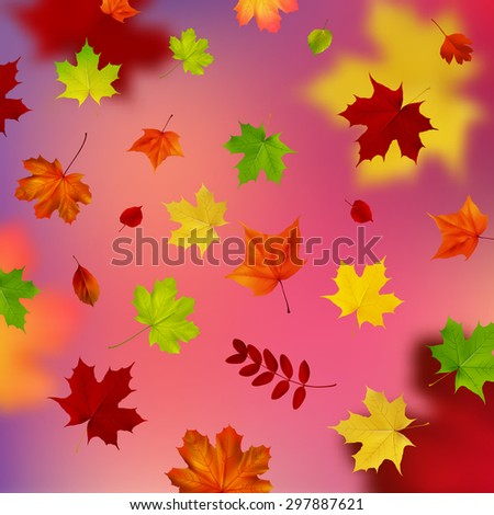 colorful background with autumn leaves - stock vector