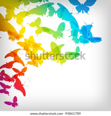 Colorful Background with Butterfly - Vector Illustration - stock vector