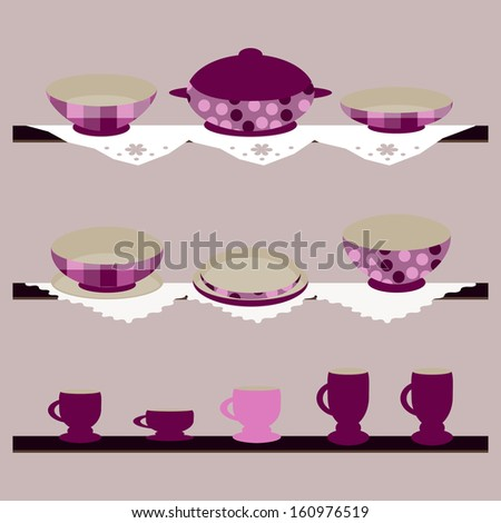 Colorful background with crockery for you design