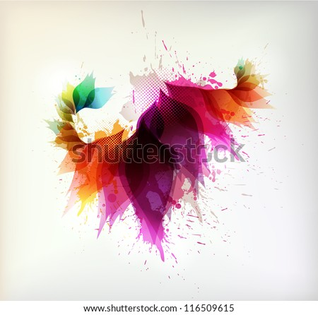 Colorful background with floral element and colorful blots. Vector design - stock vector