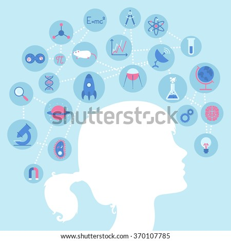 colorful background with girl silhouette and science icons - stock vector