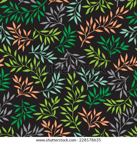 Colorful background with leaves. Vector natural seamless pattern. - stock vector