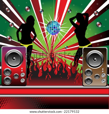 Colorful background with loudspeakers, mirrorball, burning fire and two female silhouettes dancing