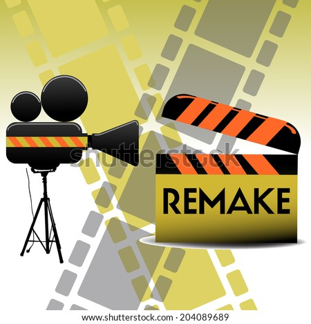 Colorful background with movie projector and a clapboard with the text remake written with black letters - stock vector