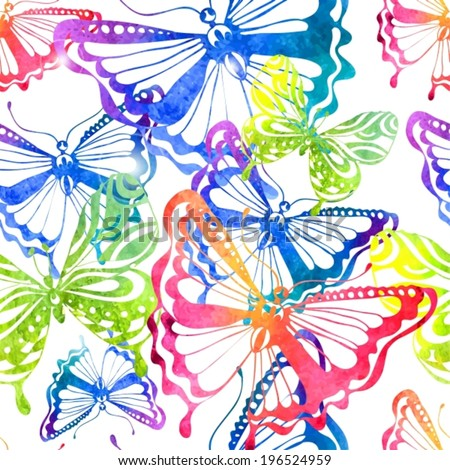 Colorful background with watercolor butterfly, beautiful illustration, seamless pattern, VECTOR - stock vector