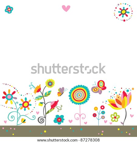 Colorful background with whimsical flowers, butterflies and hearts in a cheerful color palette. - stock vector