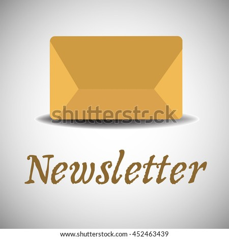 Colorful background with yellow envelope in the middle of the image. Newsletter concept