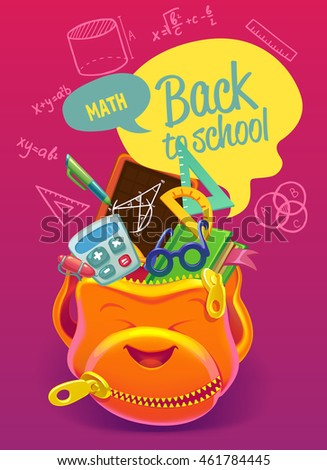 Colorful backpack with school subjects. Poster Design in Colorful Background back to school. Mathemathics.