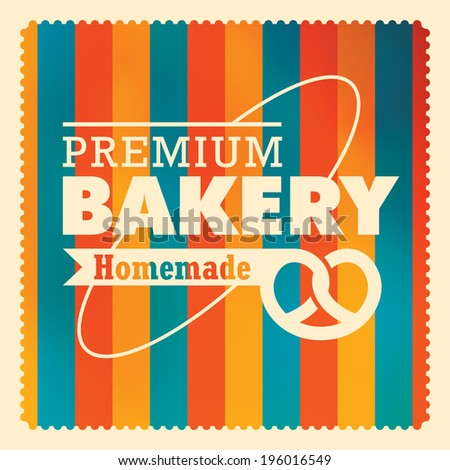 Colorful bakery label design. Vector illustration. - stock vector