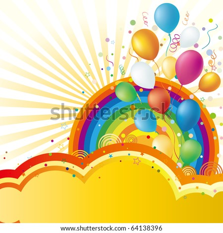 colorful balloon and rainbow,vector celebration background - stock vector