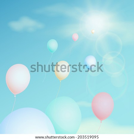 Colorful balloon fly in the sky. Vector vintage filter - stock vector