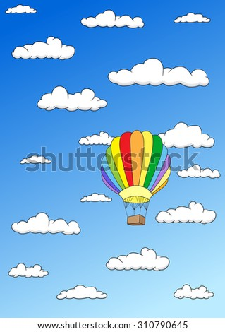 Colorful balloon in the sky. Vector illustration - stock vector