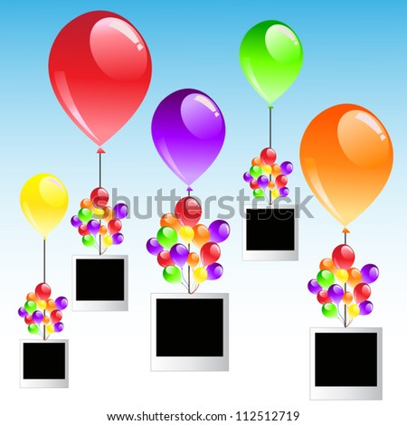 Colorful balloon on blue background with photo frames.Happy party.Vector illustration