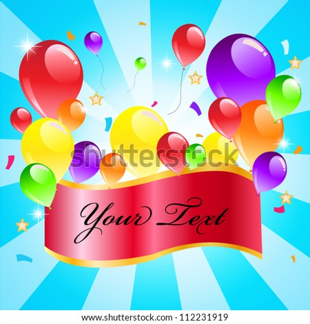 Colorful balloon on blue background with sample text.Happy party.Vector illustration - stock vector