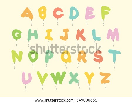 Colorful Balloon or Bubble Alphabet Letter Cartoon Font with glint, Vector isolated - stock vector