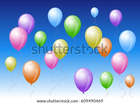 Colorful balloons in the blue sky. Vector illustration.