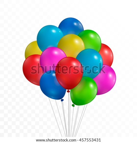 Colorful balloons. Isolated on white transparent background. Vector illustration, eps 10.