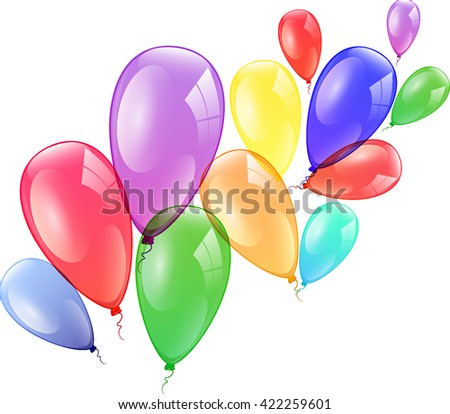 Colorful balloons on a white background.